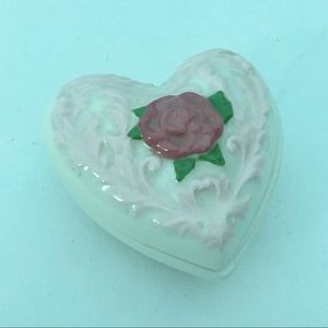 Other - Heart ceramic jewelry box trinket holder roses